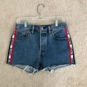 NWOT Levi's Premium 501 Hi-Rise Shorts Logo Stripe